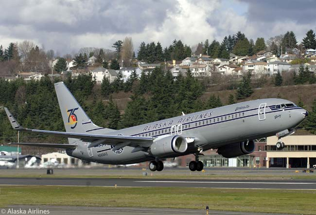 Alaska Airlines painted this Boeing 737-800 in a special retro 'Starliner' livery similar to the airline's colors in the 1940s to celebrate Alaska Airlines' 75th anniversary, and named the aircraft 'Starliner 75'