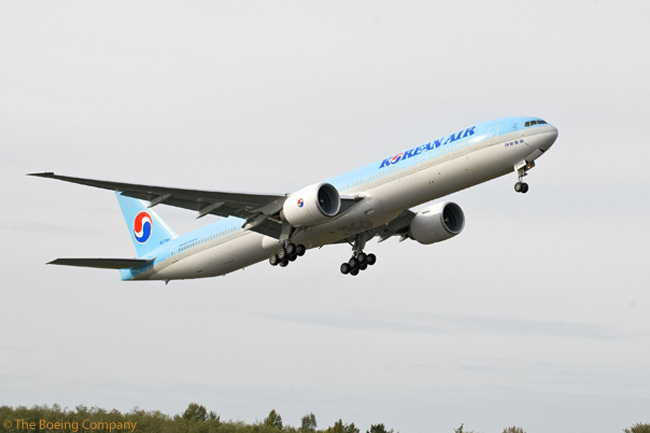 This Boeing 777-300ER is the first passenger aircraft that Boeing has delivered to leasing company Guggenheim Aviation Partners and is also the first aircraft that Guggenheim has leased to Korean Air Lines. The aircraft was delivered in early November 2009. Guggenheim ordered six Boeing 777s