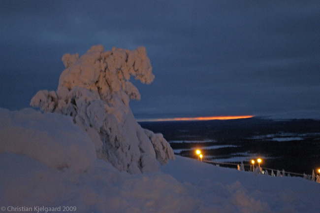 Sunset in Lapland can be a hauntingly unusual and beautiful experience