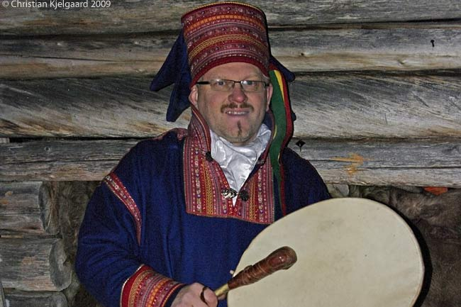 Clothed in traditional garb, this is a shaman of the Sami people, who are native to Lapland