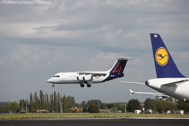 Brussels Airlines is a subsidiary of the Lufthansa Group. Here, a Brussels Airlines Avro RJ ic captured landing at Brussels, with a Lufthansa Airbus A320 shown in the foreground
