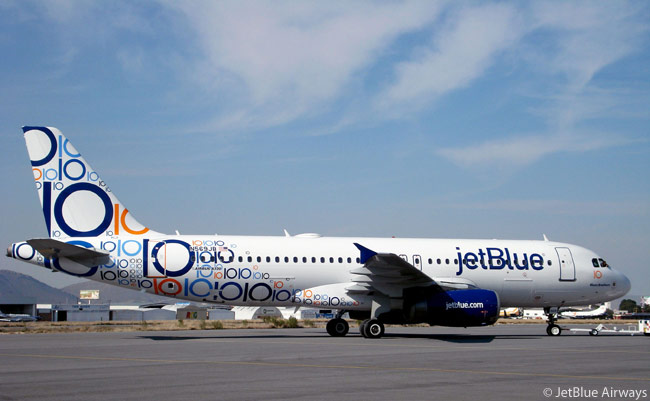 JetBlue Airways celebrated its 10th anniversary on February 11, 2010 with a specially painted Airbus A320 featuring a unique 10-themed livery to signify the carrier's entry into its second decade