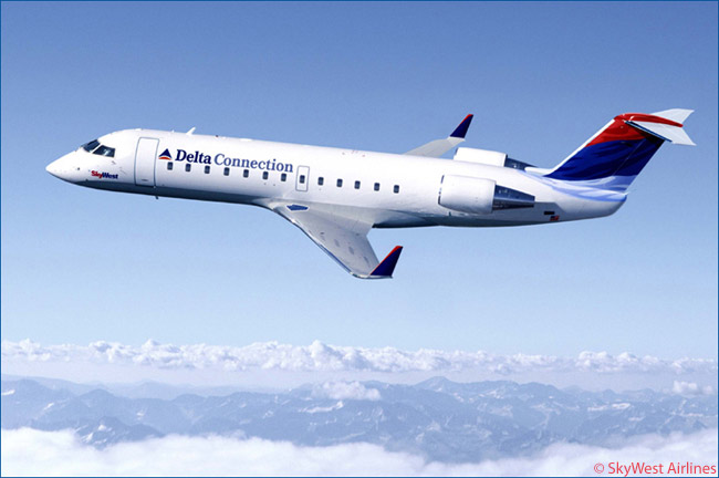 SkyWest Airlines operates a large fleet of Bombardier CRJ200s, CRJ700s and CRJ900s as a Delta Connection franchisee. It operates the aircraft from Delta's major hubs at Atlanta, Minneapolis-St. Paul and Salt Lake City