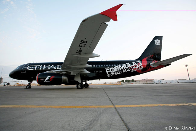Etihad Airways painted this Airbus A320 in a special livery to commemorate the Abu Dhabi Formula 1 Grand Prix