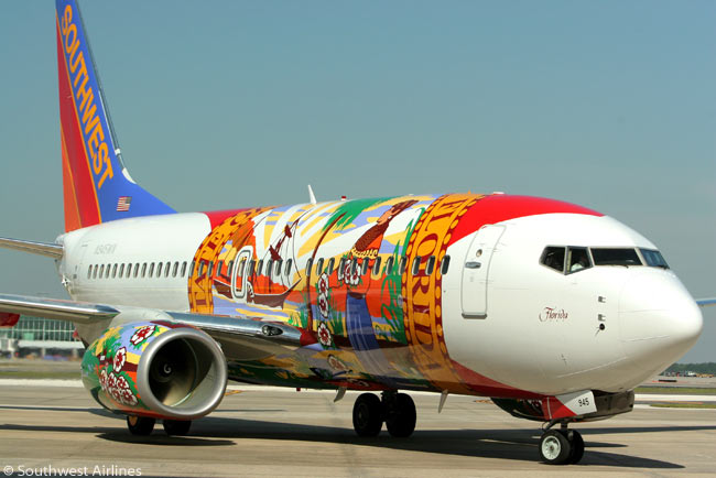 Southwest Airlines unveiled its 'Florida One' specially theme-painted Boeing 737 on April 23, 2010