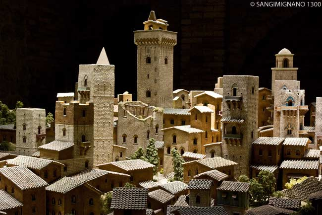 The museum SANGIMIGNANO 1300 features a hand-crafted reconstruction of the entire city of San Gimignano as it existed in 1300, as well as various exhibits, depictions and presentations about the city and those who lived inside and outside of its walls in medieval Tuscany