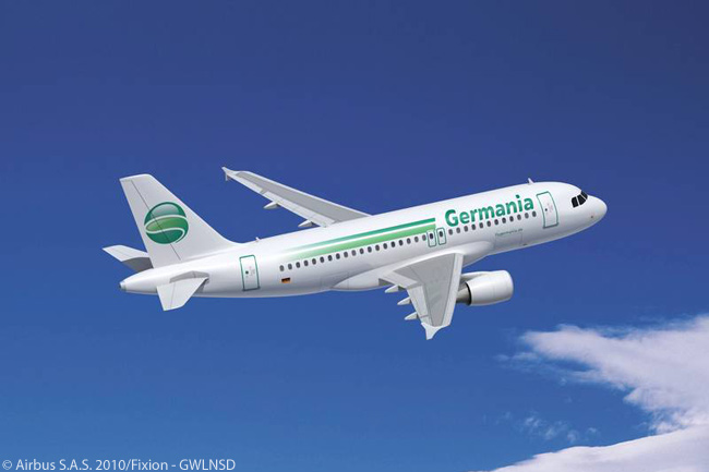 The parent company of Berlin-based Germania signed a memorandum of understanding at the ILA Berlin 2010 airshow for five Airbus A319s. The deal makes Germania a new Airbus customer and signals the beginning of a fleet renewal process that will eventually see it replacing all of the six Boeing 737-300s and seven 737-700s in its fleet with A319s