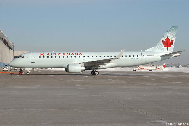 Air Canada's 200-plus-aircraft mainline fleet includes 45 Embraer 190s. The airline uses the versatile aircraft, which it has configured with 93 passenger seats, to operate domestic routes and transborder services to U.S. destinations