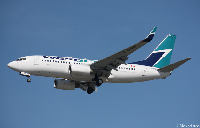 WestJet Boeing 737-76N C-GTWS is photographed on its final approach to Vancouver International Airport. By 2016, the Canadian carrier will be operating up to 135 Boeing 737s