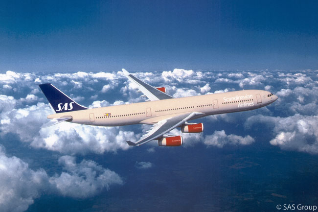 Scandinavian Airlines operates a fleet of Airbus A340-300 four-engined widebody jets and twin-engine A330-300s on its long-haul routes to North America and Asia from its hubs at Stockholm-Arlanda and Copenhagen Airport. The carrier has seven A340-300s in total