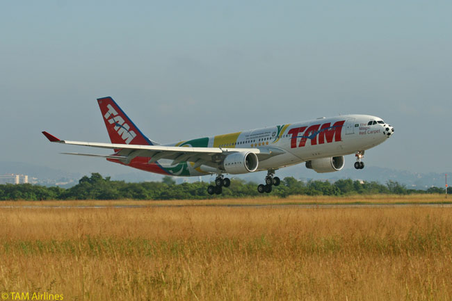 TAM Airlines painted this Airbus A330-200 in a special livery to commemorate the Brazil national football team's appearance in the 2010 FIFA World Cup in South Africa
