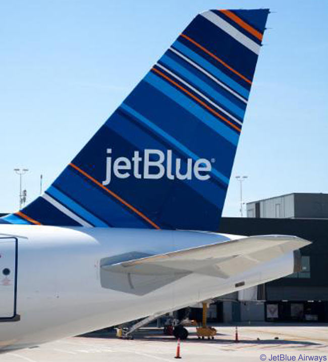 JetBlue Airways introduced its 'Barcode' tailfin livery design on a newly delivered Airbus A320 on September 7, 2010