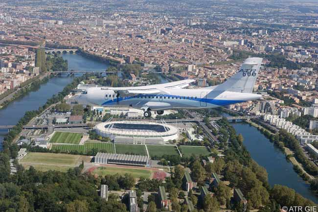 An ATR 72-600 used in flight testing of the new ATR 72 model flies over Toulouse, where the EADS-Italian joint venture ATR is based