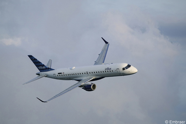 JetBlue Airways took delivery of its first Embraer 190 on September 13, 2005. The airline, which was the launch customer for the Embraer 190 and operates the type in a 100-seat configuration, has ordered more than 80 Embraer 190s and continues to take delivery of aircraft from its orders
