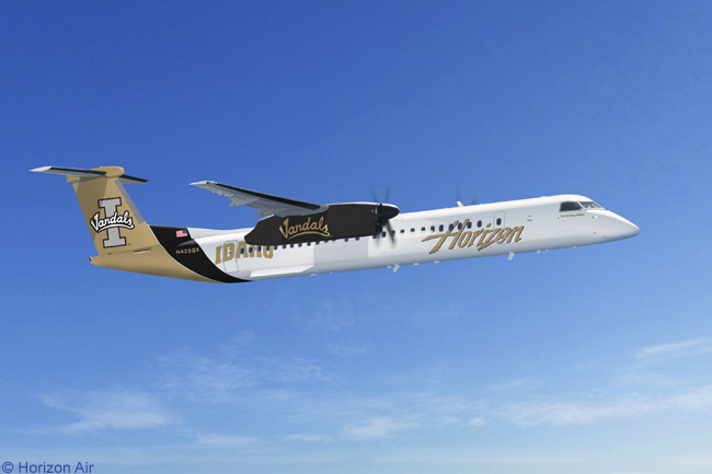 A Bombardier Q400 of Horizon Air has flown in the colors of the University of Idaho from November 2010. The aircraft joined a growing fleet of Q400s which Alaska Airlines' sister regional carrier has painted in the colors of major public universities that are located in the cities it serves