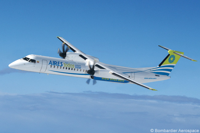 Colombia's Aires began operating the Bombardier Q400 in the summer of 2010