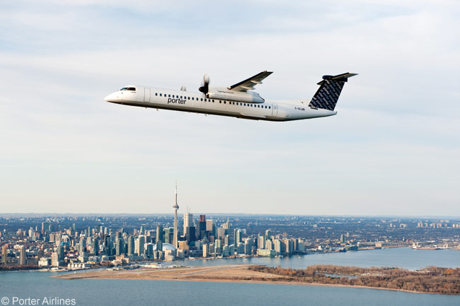 Porter Airlines' all-Bombardier Q400 fleet, high-service-quality business model and base at Billy Bishop Toronto City Centre Airport less than a mile from the downtown financial center of Canada's biggest city makes the airline one of the most unusual start-ups in recent years