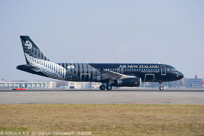 Air New Zealand is operating this Airbus A320 painted in a special livery to evoke the colors of the country's famous All Blacks national rugby team. The aircraft is the first of 51 A320-family aircraft ordered by leasing company Air Lease Corporation