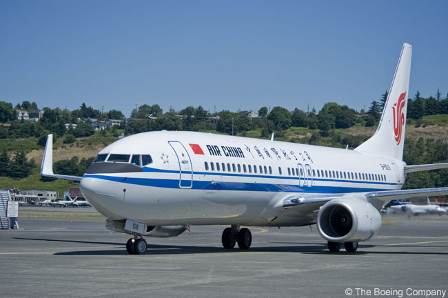 On February 1, 2011, Air China became the first Chinese airline to take delivery of a Boeing 737 with the new 737 Boeing Sky Interior. The aircraft, a new 737-800, is seen here at Renton, where Boeing's 737 final assembly line is located