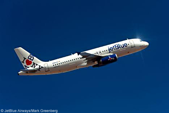 On February 8, 2011, JetBlue Airways unveiled an Airbus A320 with a special livery featuring JetBlue's co-branded trademark with New York State's 'I Love New York' tourism campaign and logo. This computer graphic image shows how the aircraft looks. The co-branded logo appears differently on each side of the tailfin