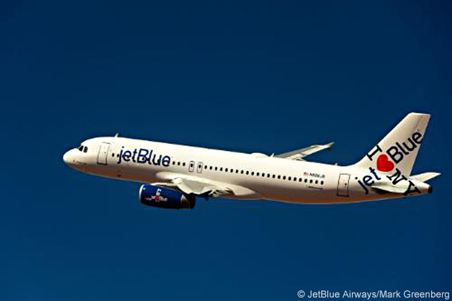 "This computer graphic image shows how JetBlue Airways' New York co-branded Airbus A320 ""I Heart Blue York"" looks. The co-branded logo appears differently on each side of the tailfin. The aircraft was unveiled in its new livery on February 8, 2011"