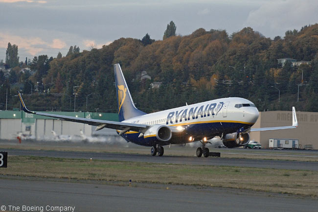 Europe's largest low-fare carrier, Ryanair, is the world's largest operator of the 737-800. The airline has 300 in service and is taking delivery 37 737-800s during 2011. Ryanair took delivery of its first 737-800, which seats 189 passengers, from Boeing in 1999. Depicted here is a Ryanair 737-800 taking off from Boeing Field in Seattle, Washington
