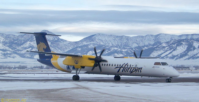 Alaska Air Group regional carrier Horizon Air has painted one of its Bombardier Q400 turboprops in the colors of Montana State University. The carrier has painted several of its Q400s in the colors of particular universities and says the university theme-liveried aircraft are very popular with passengers