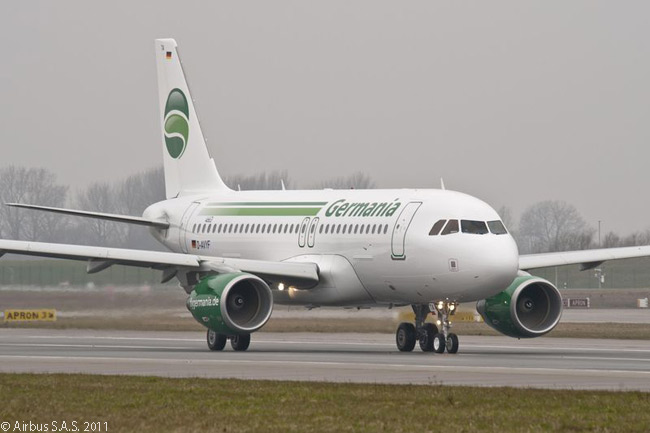 On April 19, 2011 Berlin-based Germania received the first of five A319s ordered as the airline's new standard fleet type