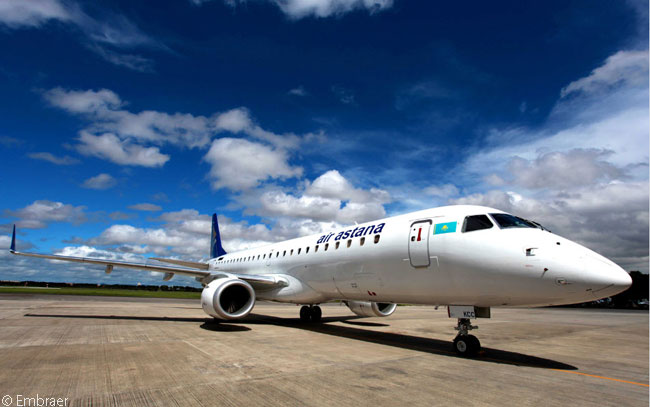 Air Astana has agreed to lease or buy a total of six Embraer 190s, which it plans to use to expand its regional international network and to replace Fokker 50 turboprops on domestic routes within Kazakhstan