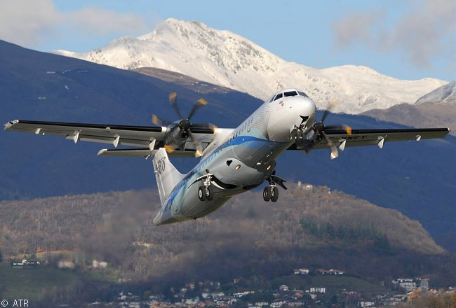 As part of the type's certification test-flying, an ATR 72-600 takes off at Lugano-Agno Airport in southern Switzerland during steep-approach trials conducted using a glideslope angle of 6.65 degrees. The steep approach angle is required at Lugano-Agno Airport because of its location in a mountain valley
