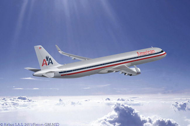 American Airlines didn't initially announce its engine choices for the Airbus A320-family jets it ordered on July 20, 2011, but this computer graphic image shows an A321 in American colors and powered by CFM56-5B engines