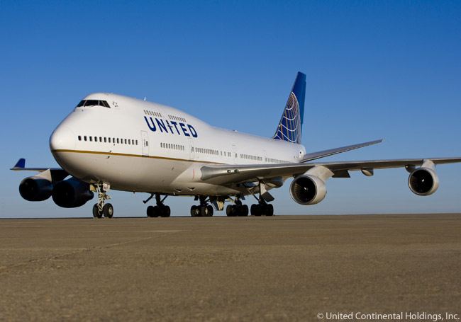 This is how United Airlines' new livery looks on one of its Boeing 747-400s following Unit4ed's merger with Continental Airlines to form the world's largest airline. UNited is now under the ownership of United Continental Holdings, Inc.