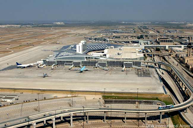 Dallas/Fort Worth International Airport is the fourth-busiest airport in the world for aircraft movements and in 2010 was the eighth-busiest for passengers, with nearly 57 million passengers. This aerial view of the airport looks over DFW's showpiece new Terminal D towards Terminal B