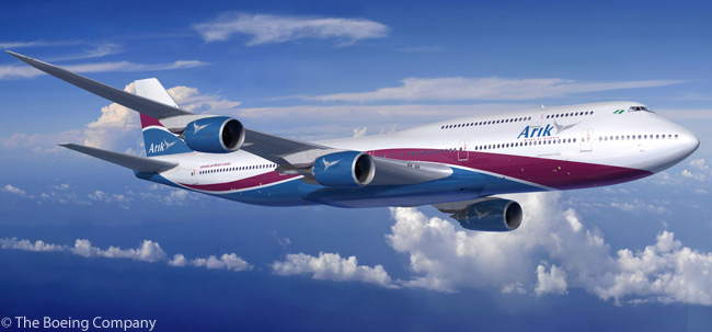 Nigeria's Arik Air revealed on October 6, 2011 that it had placed a firm order for two Boeing 747-8 Intercontinental passenger jets