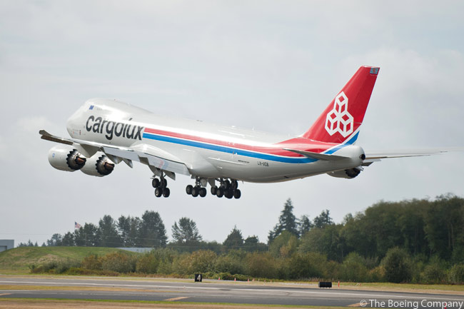 The first Boeing 747-8 Freighter for Cargolux takes off from Paine Field in Everett on its delivery flight on October 12, 2011 – making for nearby Seattle-Tacoma International Airport, to be loaded there with cargo and immediately put into commercial service for a revenue flight to the carier's base at Luxembourg's Findel Airport. Cargolux, which also received the first 747-400 Freighter nearly 18 years ago, was one of two customers to launch the 747-8F in 2005 along with Japan's Nippon Cargo Airlines. The Luxembourg carrier orderd 10 747-8Fs in 2005 and added three more to its order in 2007