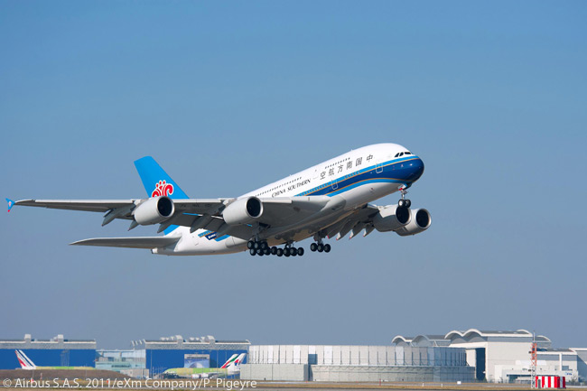 China Southern Airlines' first A380 takes off on its delivery flight on October 14, 2011