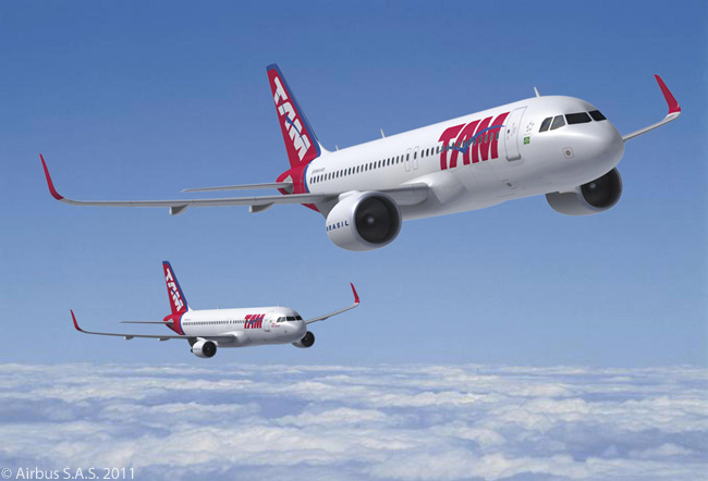 On October 20, 2011, Brazil's TAM Airlines signed an order for 22 Airbus A320neos and 10 A320-family jets, thus firming a memorandum of understanding it had signed for the aircraft in February 2011
