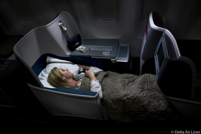 The Business Elite cabins in Delta Air Lines' Boeing 767-400ERs and 767-300ERs are fitted with full lie-flat bed seats
