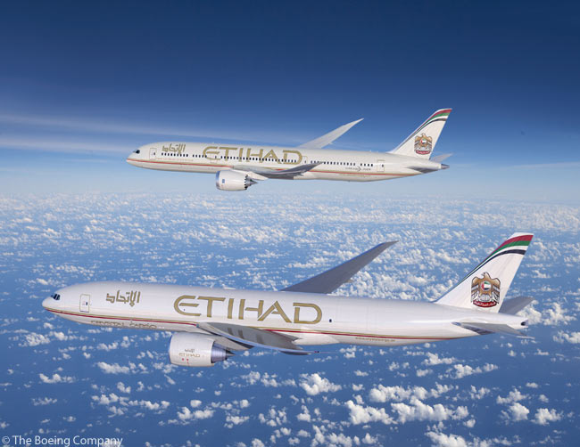 On December 12, 2011, Etihad Airways announced an order for 10 Boeing 787-9s and two Boeing 777 Freighters. The order will make Etihad the world's largest airline customer of the 787-9. Etihad has a total of 41 787s on order. Pictured here are the 787-9 and 777 Freighter in Etihad livery