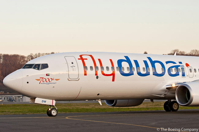 Boeing delivered the 7,000th 737 to come off the production line to Dubai-based flydubai. The aircraft was flydubai's 14th Next-Generation 737-800 with the Boeing Sky Interior and features a logo near the nose of the aircraft commemorating the 7,000th 737-delivery milestone. Pictured here is flydubai's milestone 737-800 at Boeing Field in Seattle, Washington