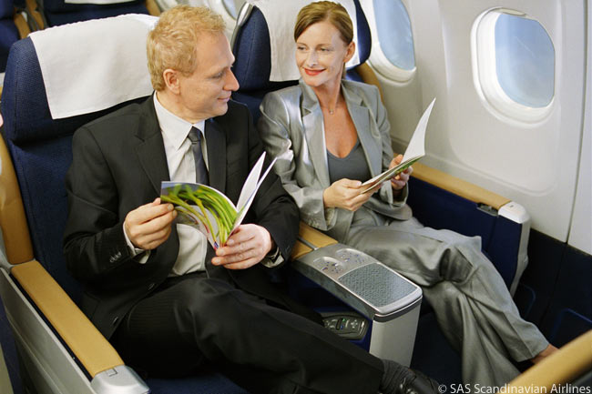Scandinavian Airlines' long-haul Business Sleeper seats feature a 170-degree recline. Each seat features a seat pitch of 61 inches, reclines to form a 74-inch bed and altogether offers 79 inches of personal space, as well as a neck massager, a laptop power outlet, a 10.4-inch in-flight entertainment screen and built-in storage space for laptops and other items