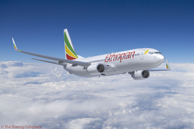 Ethiopian Airlines has 14 Boeing 737-800s in service and on order. The Addis Ababa carrier operates the type with cabins configured for 16 business-class seats and 138 economy-class seats