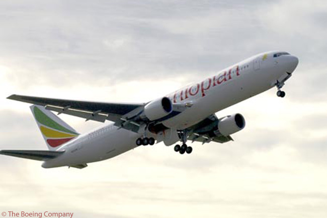 Until it receives the first of 12 Airbus A350-900s it has on order, Ethiopian Airlines' medium- and long-haul fleet is entirely comprised of Boeing aircraft. The carrier operates Boeing 737-700s, 737-800s, 757s, 767-300ERs (like the one seen here taking off from Boon its delivery flight from Boeing's Everett facility in 2003) and Boeing 777-200LRs. Ethiopian also has 10 Boeing 787-8s on order and additionally operates eight Bombardier Q400 turboprops on domestic and regional routes