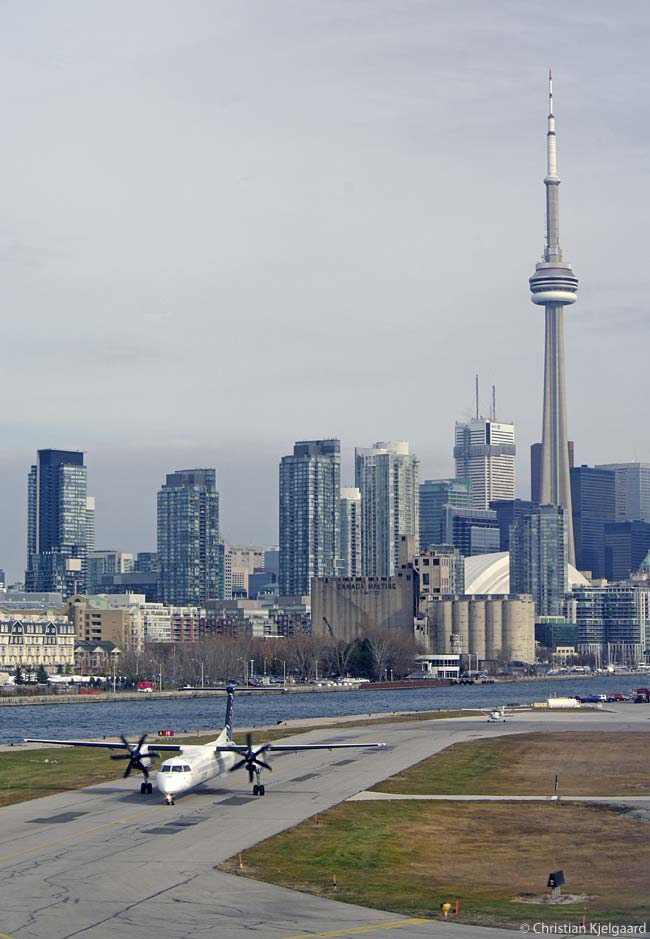 Porter Airlines' main hub at Toronto Billy Bishop City Airport is extremely close to downtown Toronto. The airport lies on Toronto Island, just 100 yards offshore in Lake Ontario, and can be reached from the mainland by a frequently operating passenger and car ferry or (soon) by a passenger tunnel