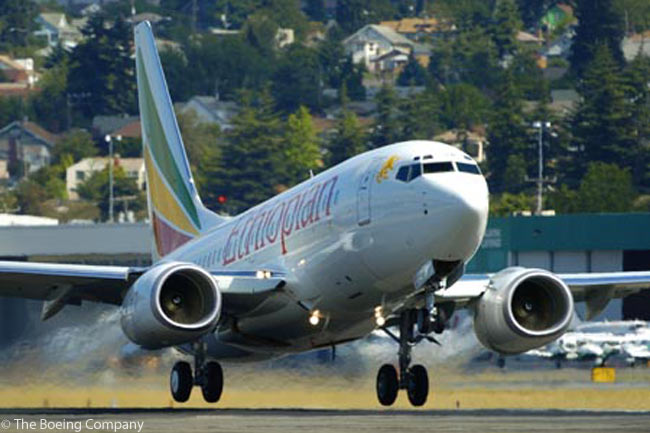 Ethiopian Airlines' fleet includes five Boeing 737-700s (one of which is shown here departing Boeing Field in 2004) and a growing number of Boeing 737-800s. The carrier has a total of 15 737-800s in service and on order. Ethiopian also operates Boeing 757s, Boeing 767-300ERs, Boeing 777-200LRs and Bombardier Q400s, and has 10 Boeing 787-8s on firm order. The carrier also flies two Boeing 757PCF converted freighters and two Boeing 747-200F freighters and has four Boeing 777 Freighters on order