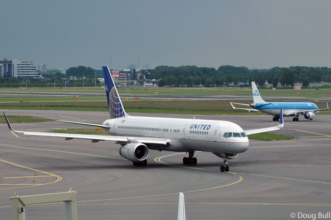 United Airlines Boeing 757-200 N17105, one of the many aircraft which Continental Airlines brought to its merger with United, heads to the runway at Amsterdam Airport Schiphol