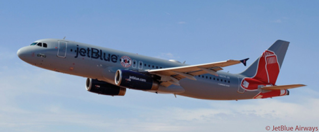 JetBlue Airways unveiled this Airbus A320 in Boston Red Sox colors on February 10, 2012, saying the aircraft was the first officially to sport a Major League Baseball uniform