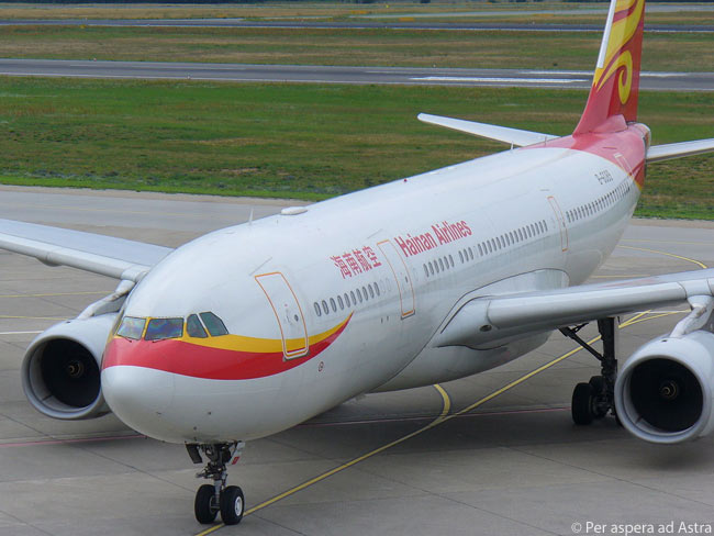 A Hainan Airlines Airbus A330-200 taxis in after landing at Berlin Tegel Airport, having completed a flight from Beijing