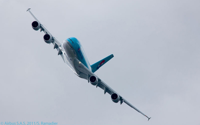 The first Airbus A380 for Korean Air shows off its sleek lines in a flying display at the Paris Air Show on June 20, 2011