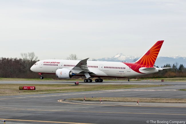 A Boeing 787 Dreamliner in Air India's colors made its debut at Indira Gandhi International Airport in New Delhi on March 12, 2012. This photo shows a 787 Dreamliner in Air India colors as it takes off from Paine Field in Everett, Washington on a ferry flight